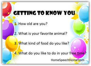 Getting to Know You - Speech Therapy Activity
