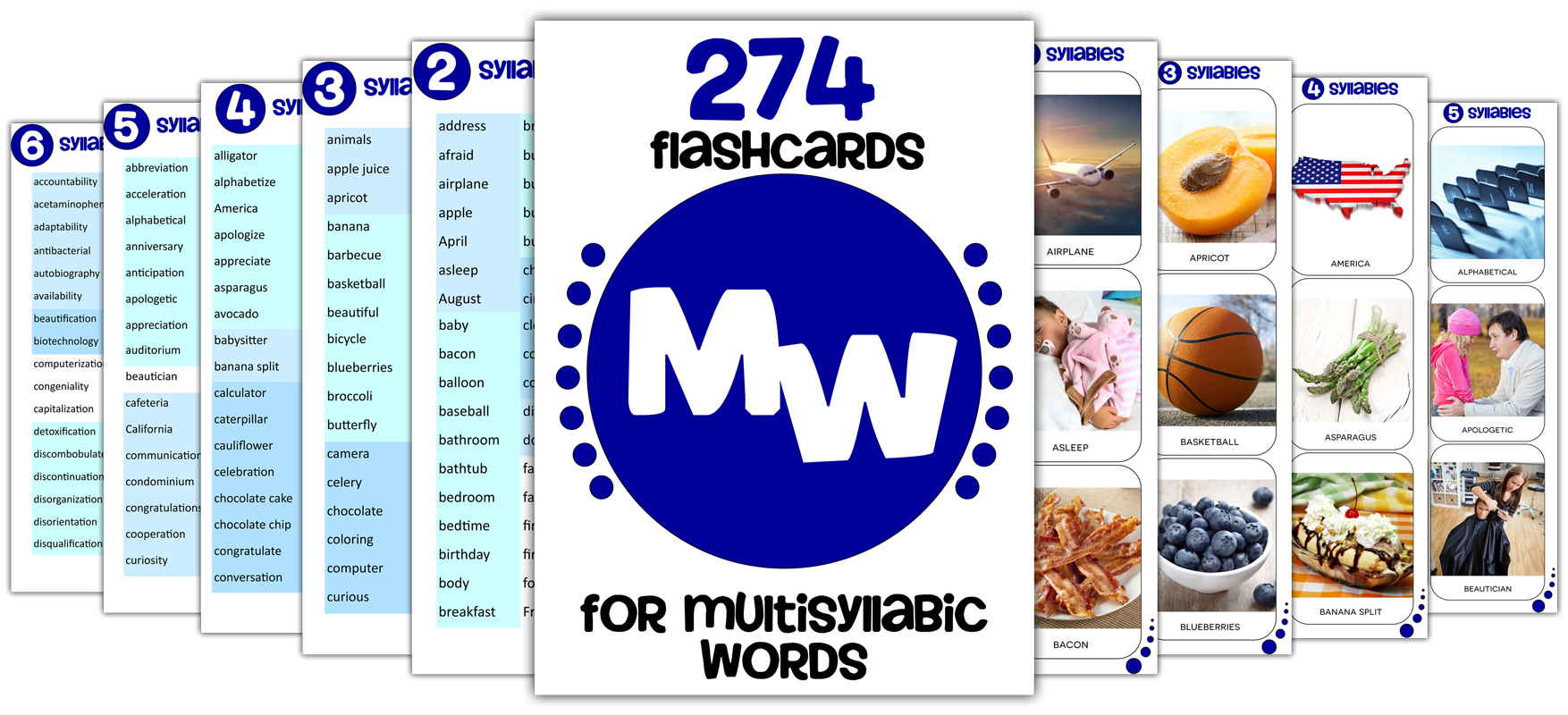 Multisyllabic Word Flashcards for Speech Therapy | HomeSpeechHome