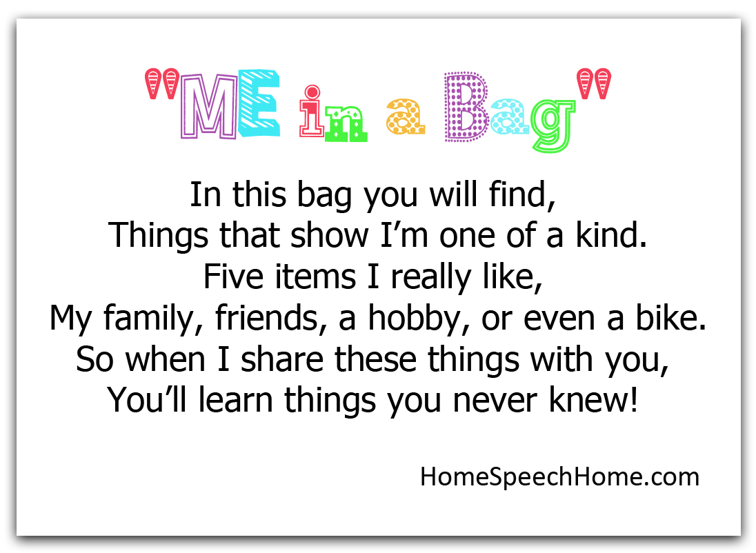 picture regarding All About Me Bag Printable called 3 Speech Treatment Functions for Starting to be towards Notice Yourself