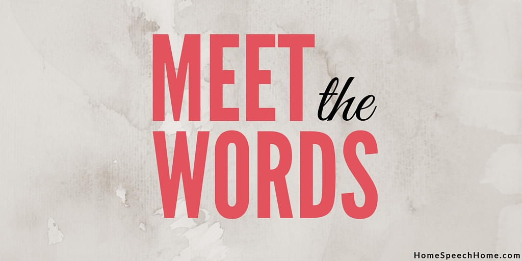 Meet the Words Speech Therapy Activity